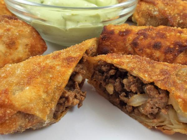 Taco Egg Rolls with Avocado Cream