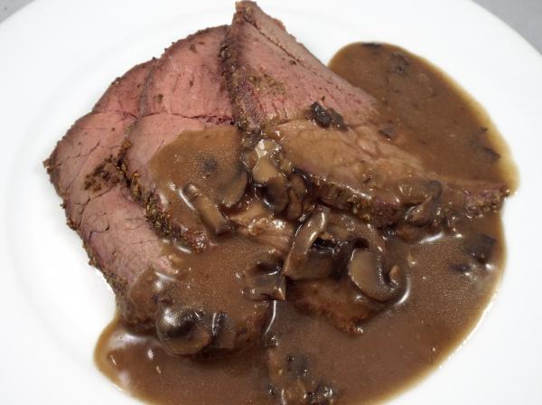 Rosemary Dijon Roast Beef with a Mushroom Red Wine Sauce