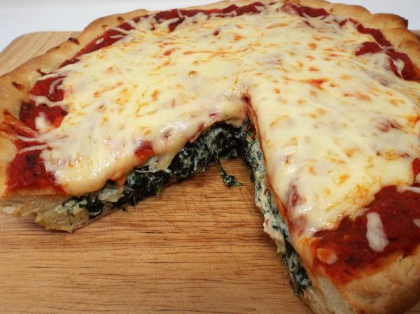 Spinach and Ricotta Stuffed Pizza